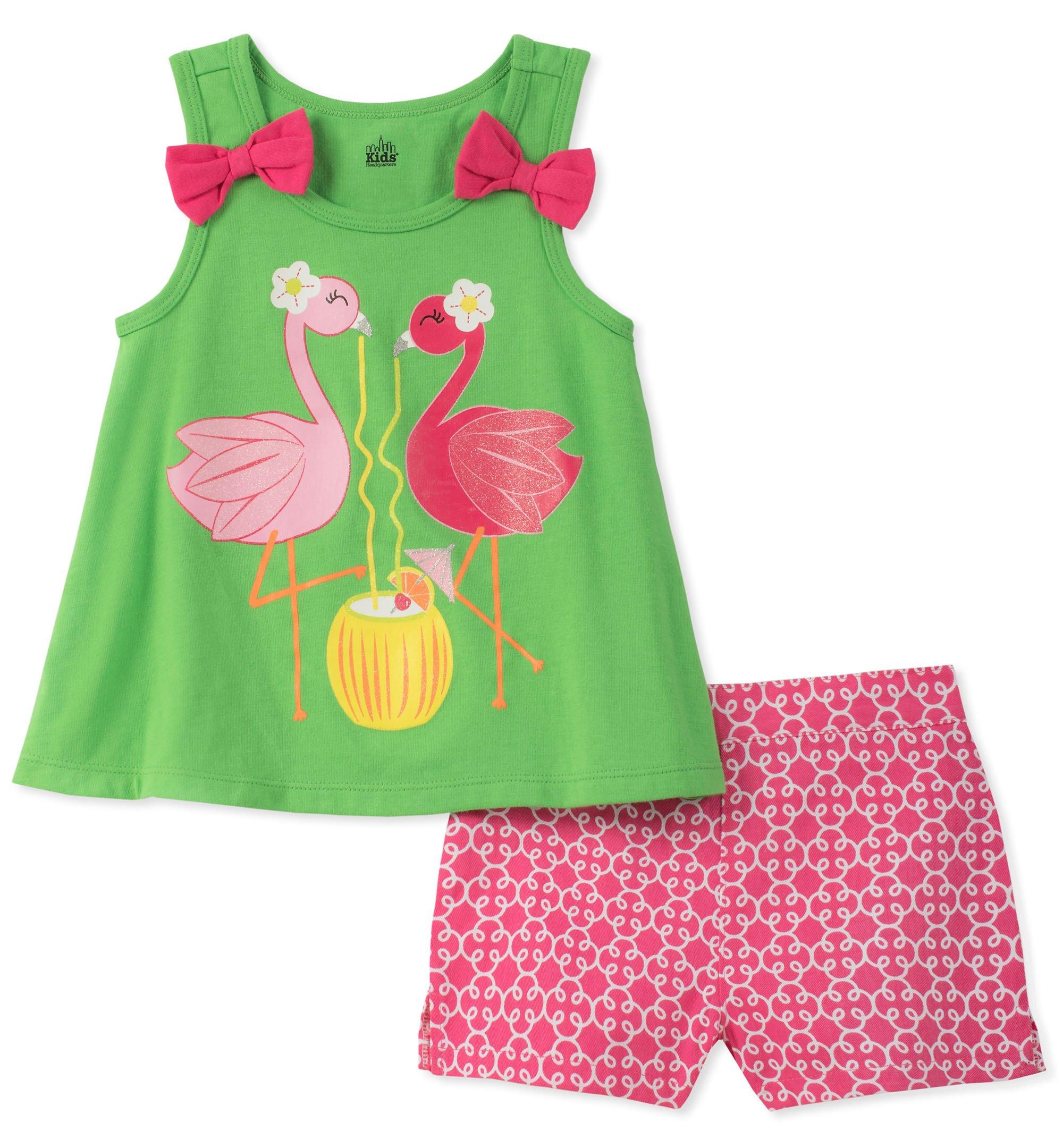 Kids Headquarters Little Girls' 2 Pieces Shorts Set, Green, 4