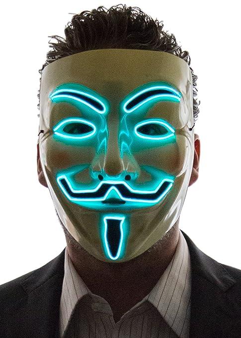 NEON NIGHTLIFE Hombres Light Up V de Vendetta, Guy Fawkes ...