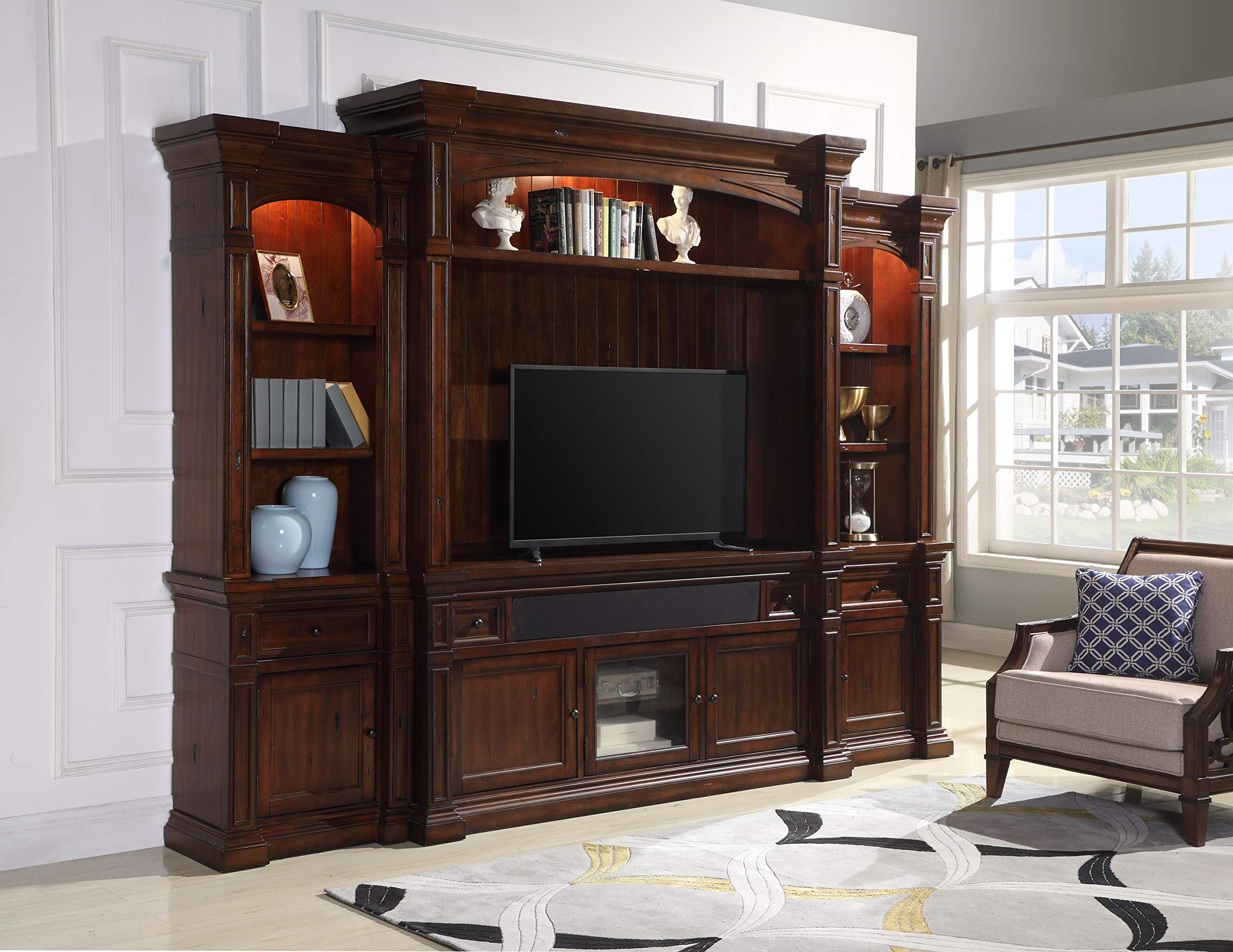 4 Pc Tv Entertainment Center with Built in Speakers, Lights, Dark Cherry- 65'' by Mollai Collection