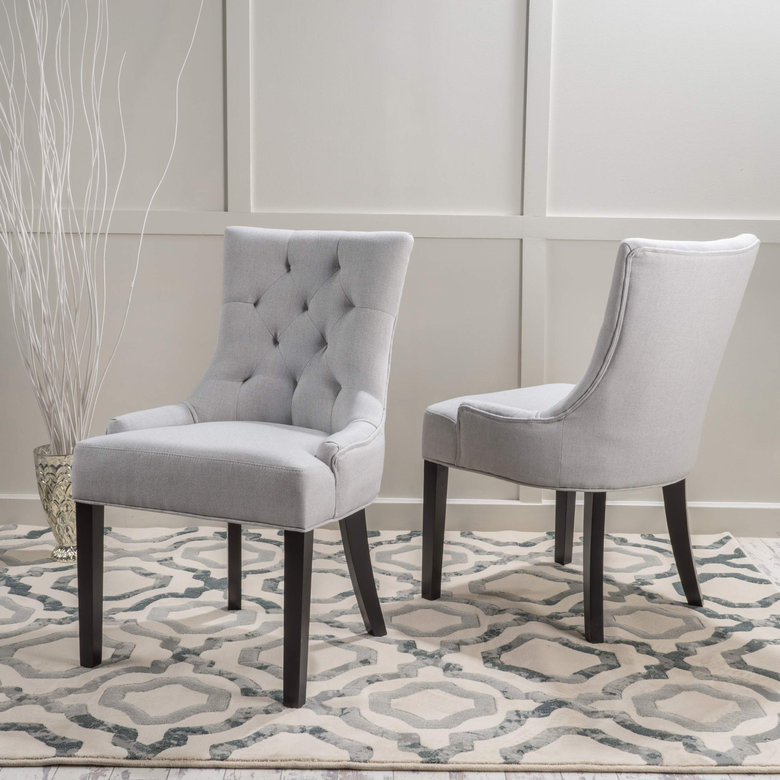 Christopher Knight Home 299538 Hayden Fabric Dining Chairs (Set of 2), Light Gray by Christopher Knight Home (Image #2)