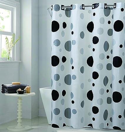 Hookless RBH14FC244 Retro Dot EZ On Shower Curtain
