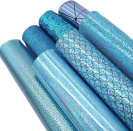 20cm x 30cm A4 Bundle Leather Sheets Mixed Aqua Blue Series Holographic Sparkle Fine Chunky Glitter Faux Leather Fabric Bow Earrings Making DIY Craft(Aqua Blue Series) ZAIONE 7Pcs//Set 8 x 12