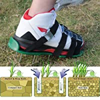 LEHKG Lawn Aerator Shoes, Heavy Duty Spiked Sandals, With 4 Adjustable Straps and Metal Buckles, Premium Yard and Garden Tools. (Green)