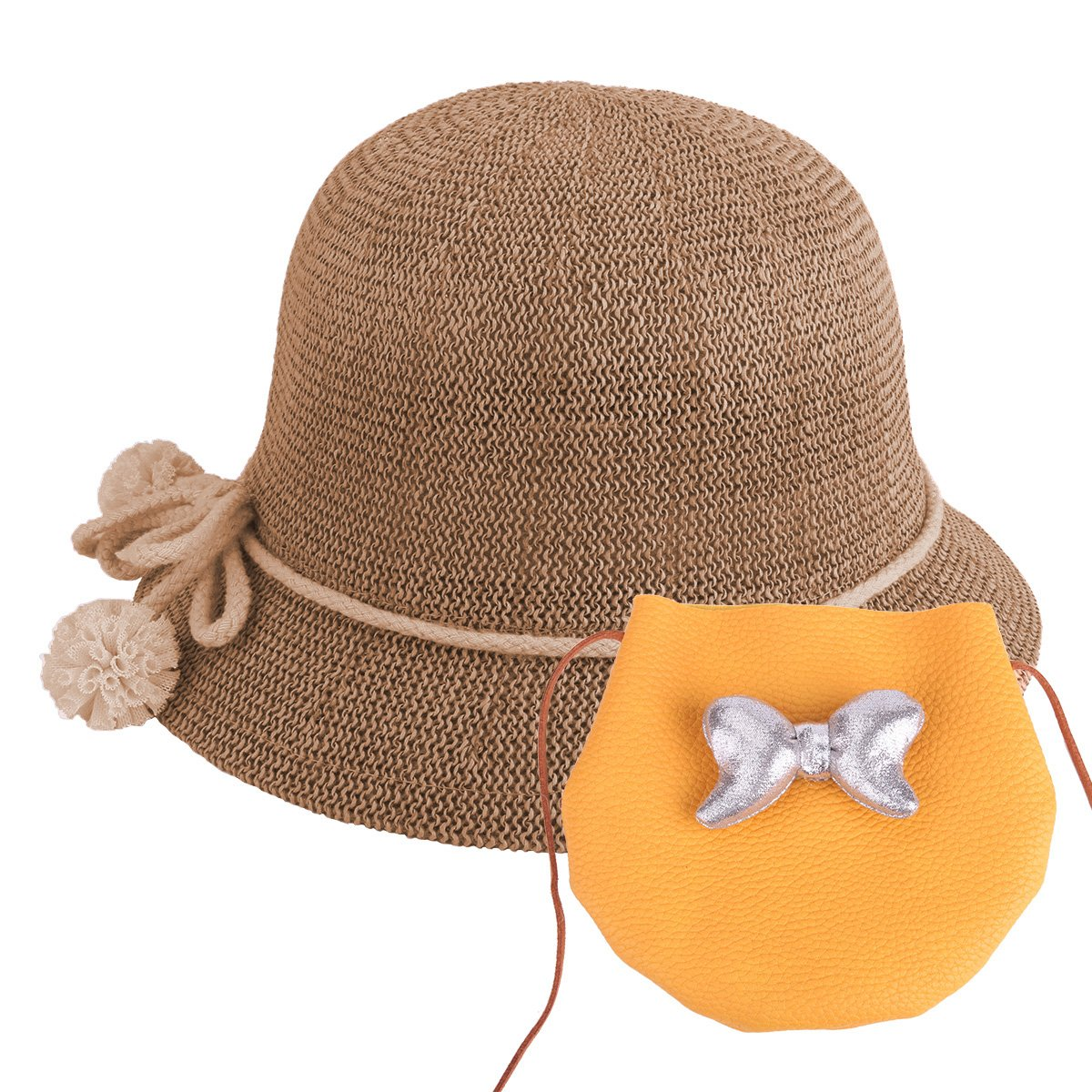 Sombrero de Paja para bebé s Sombrero de Verano para niñ as Sombrero Set Beach Floppy Hats Sombrero de niñ os para Sol con Bolsa (Amarillo)