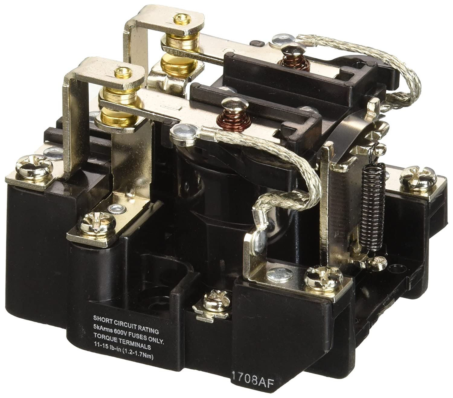NTE Electronics R04-11A30-120 Series R4 General Purpose Multicontact AC Open Frame Relay, Heavy Duty, DPDT Contact Arrangement, 30 Amp, 120 VAC
