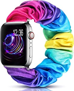 moencase Scrunchie Elastic Watch Band Compatible for Apple Watch Band 38mm 40mm 42mm 44mm Cute and Fashion Smart Watch Band for iwatch Series 5/4/3/2/1 (38mm/40mm M/L Colorful)