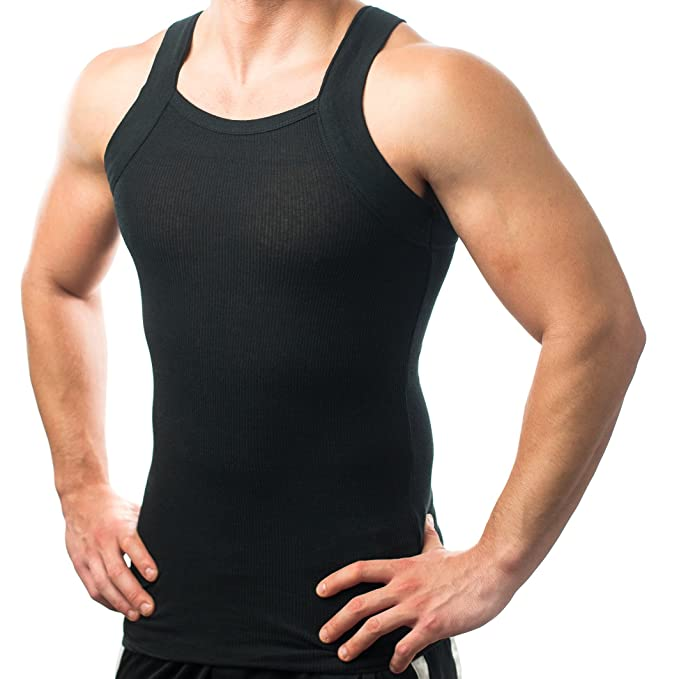 5ced343d8262be Men s G-unit Style Tank Tops Square Cut Muscle Ribbed Wife Beater Underwear  Shirts (S