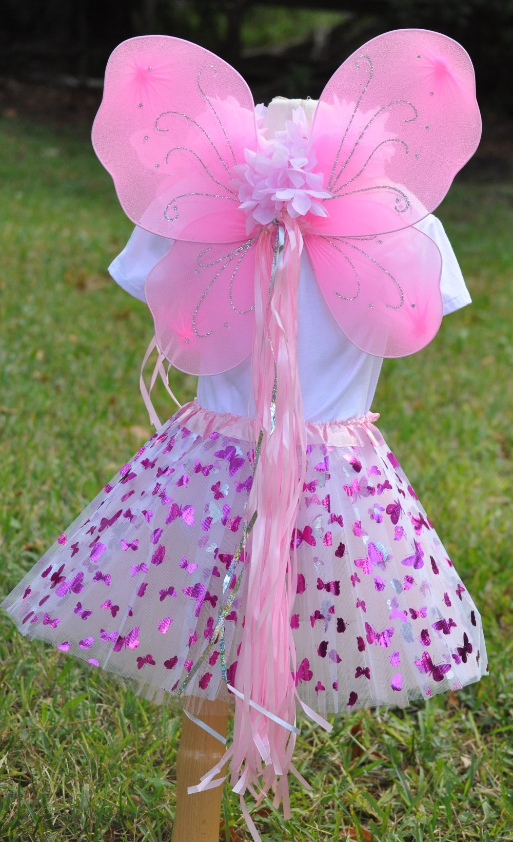 Girls Pink Butterfly Fairy Costume with Wings, Wand and Halo by Fairytale Play (Image #3)