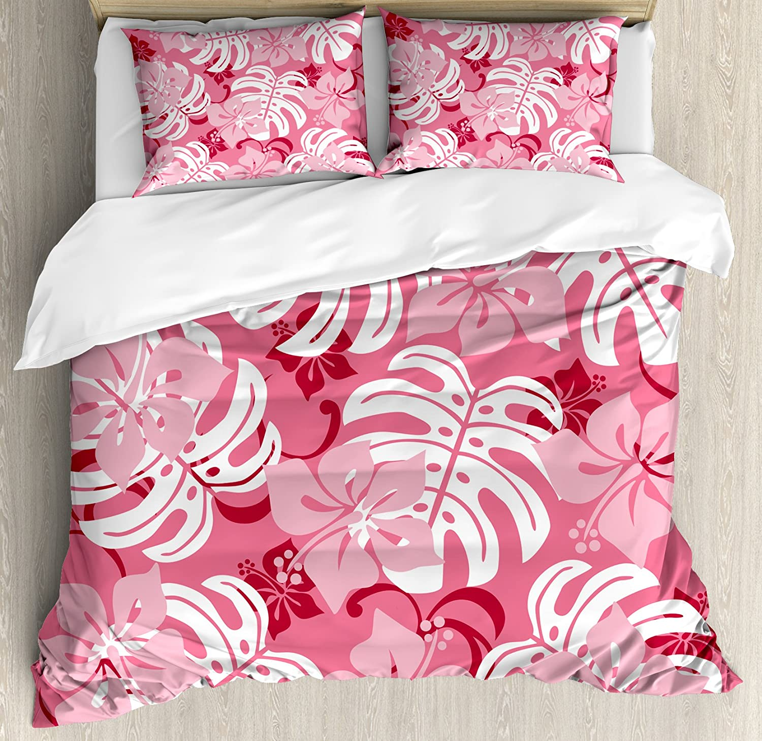 Ambesonne Luau Duvet Cover Set, Hibiscus Flower with Monstera Leaves Rainforest Plants Fresh Nature Motif, Decorative 3 Piece Bedding Set with 2 Pillow Shams, Queen Size, White Pink