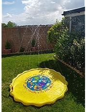 Kids Water Spray Pool Toy, PVC Sprinkler Cushion for Summer Fun Beach Outdoor Lawn Garden Patio Play (Yellow 170cm)