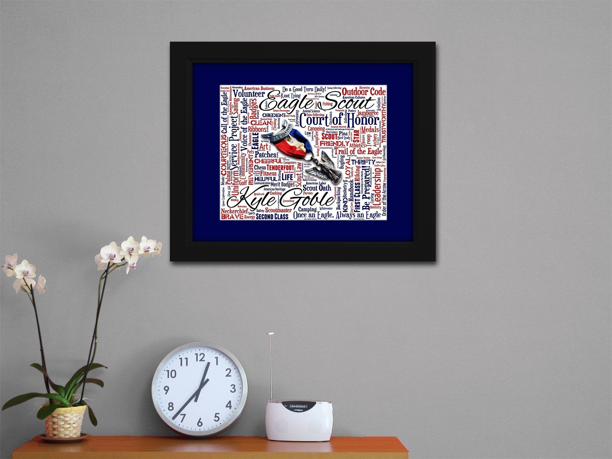 Eagle Scout 16x20 Art Piece - Beautifully matted and framed behind glass by AO Designs Artwork