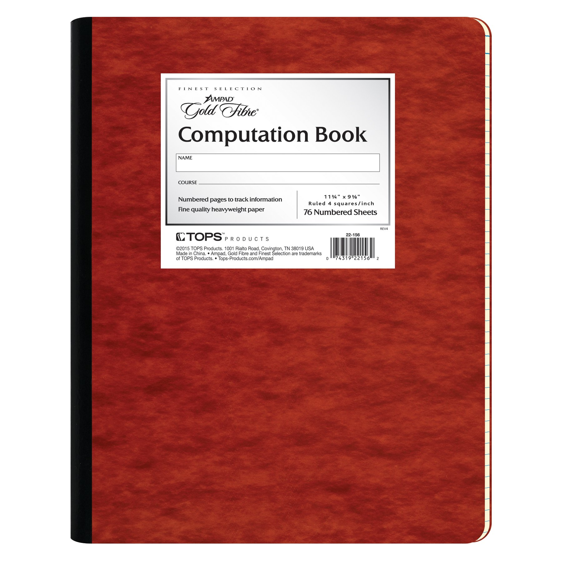 Ampad Gold Fibre Computation Book, Red Cover, Ivory Paper, Letter Size, 4 Square Inch Rule, 76 Sheets, 1 Each (22-156) by Ampad