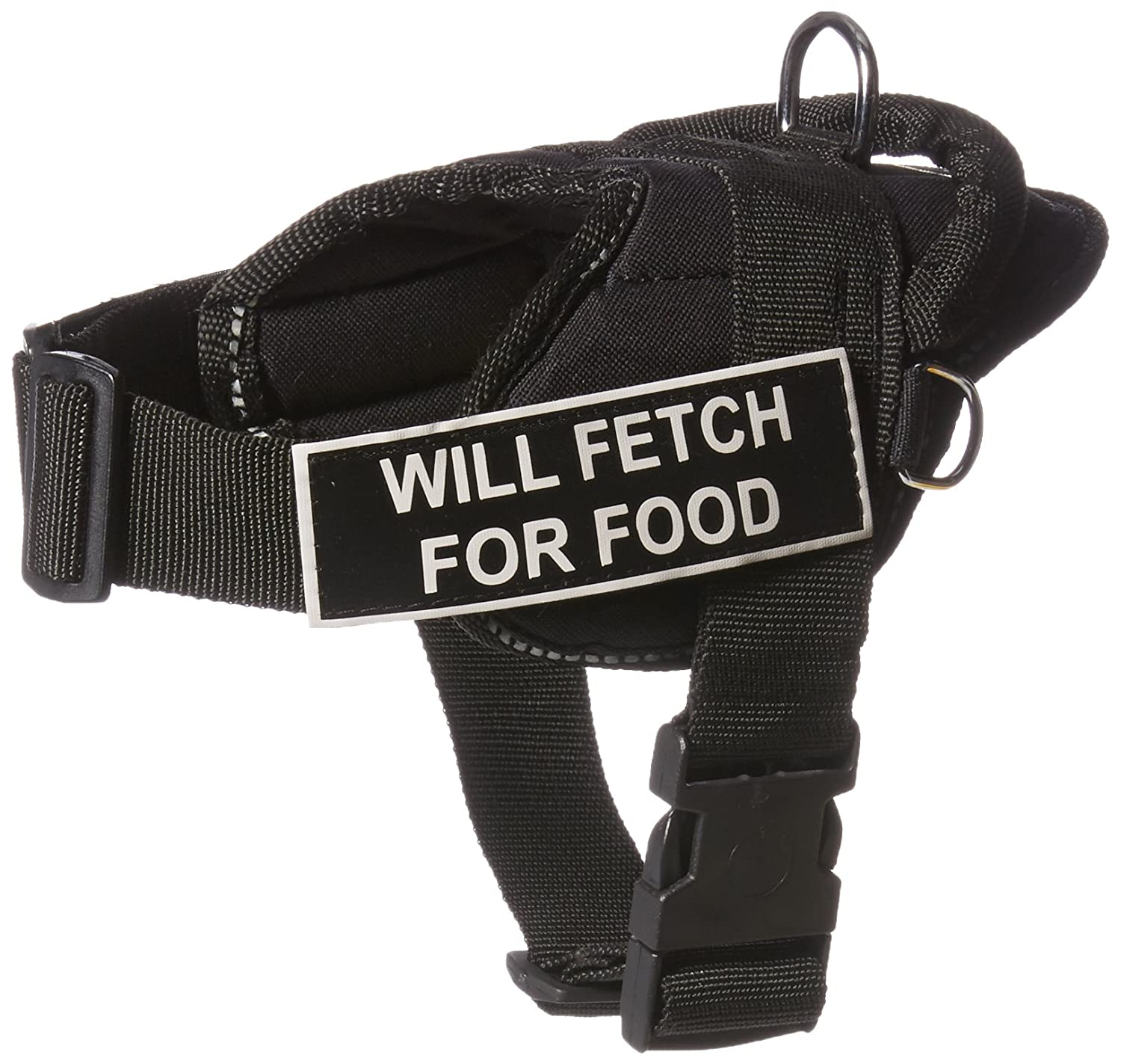 Dean & Tyler DT Fun Harness, Will Fetch For Food, Black with Reflective Trim, XX-Small Fits Girth Size  18-Inch to 22-Inch