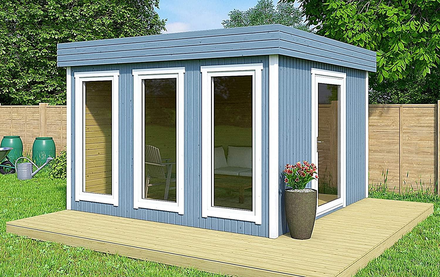 Amazon.com: Allwood Halmstad | 106 SQF Studio Cabin Kit, Garden ...