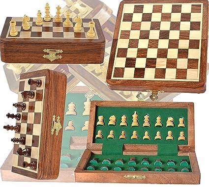 Craftgasmic - Magnetic Travel Pocket Chess Set - Staunton 7 X 7 Inch Folding Game Board Handmade in Fine Rosewood