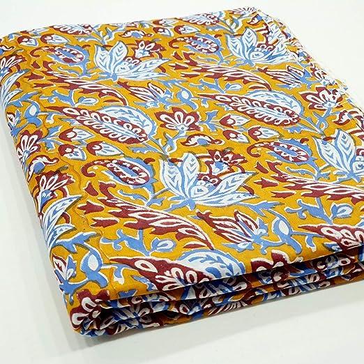 Por Yardas Indio Estampado Floral Mano Bloque Algodón Tela Confección Costura