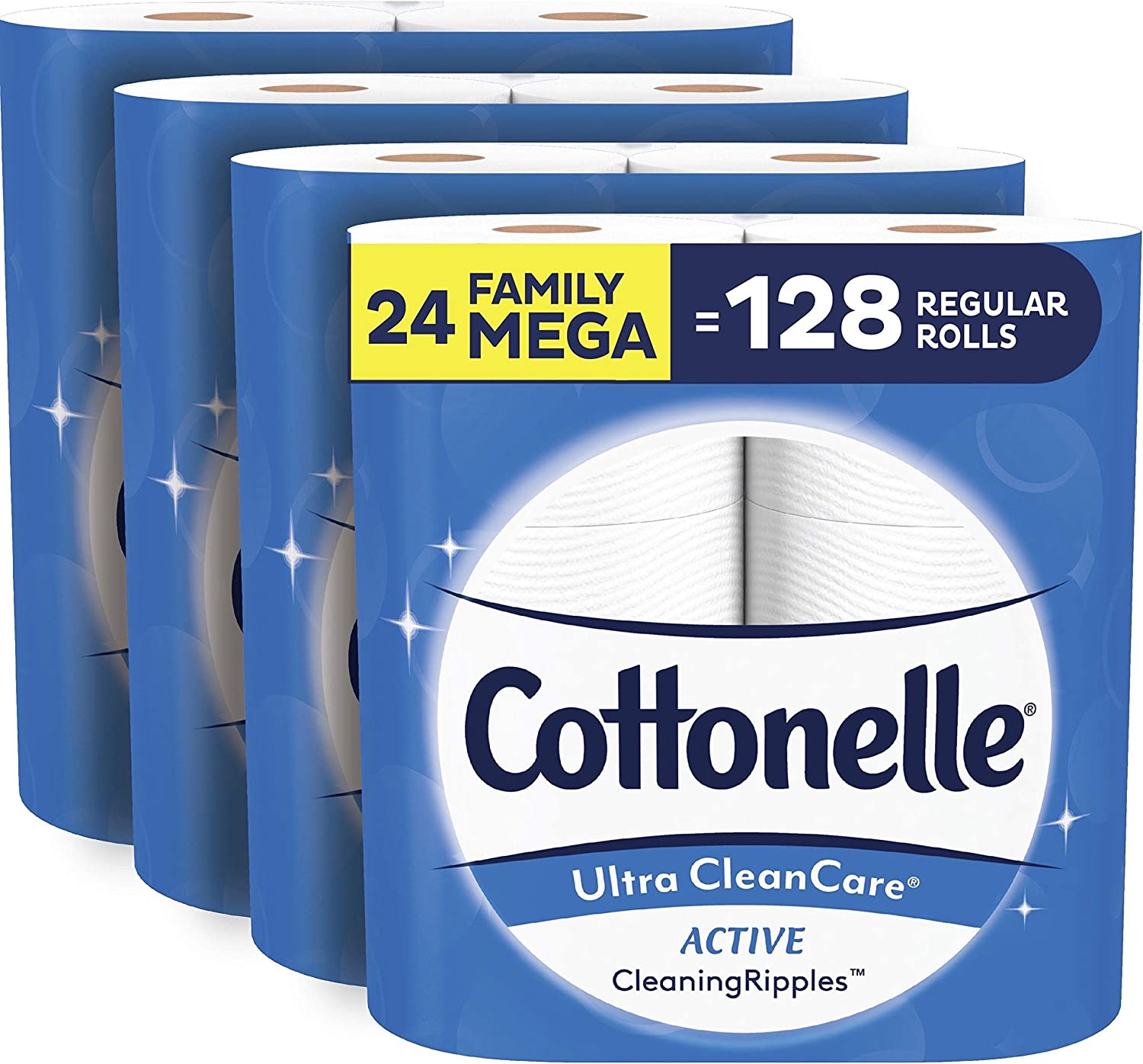 Cottonelle Ultra CleanCare Soft Toilet Paper with Active CleaningRipples, 24 Family Mega Rolls: Health & Personal Care