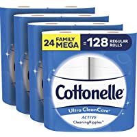 Cottonelle Ultra CleanCare Soft Toilet Paper with Active Cleaning Ripples, 24 Family Mega Rolls, Bath Tissue (24 Family…
