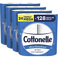 Cottonelle Ultra CleanCare Soft Toilet Paper with Active CleaningRipples, 24 Family...
