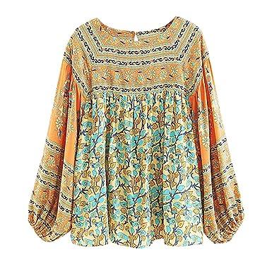 e3b51e24505 R.Vivimos Women's Autumn Long Sleeve Cotton Floral Print Casual Loose Tops  Boho Blouses Shirts