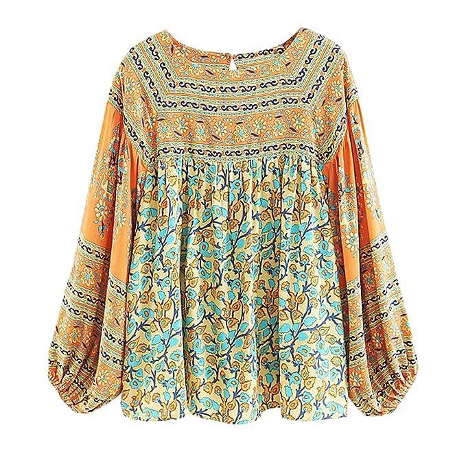 Women's 70s Shirts, Blouses, Hippie Tops R.Vivimos Womens Autumn Long Sleeve Cotton Floral Print Casual Loose Tops Boho Blouses Shirts $18.99 AT vintagedancer.com