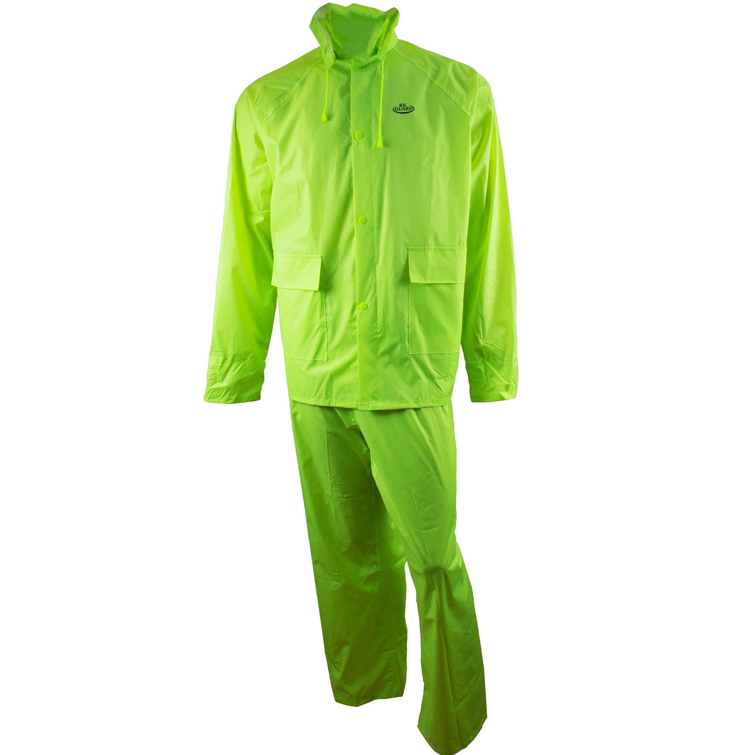 RK Safety Rain Wear RW-PP-HIG33 PVC Polyester 3-Piece Rain Suit | Jacket, Hoodie, Pants (Hi-Vis Green, Medium)