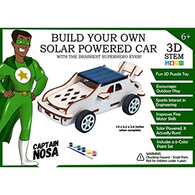 Captain Nosa Build Your Own Solar Powered Car | 3D STEM Puzzle Toy: Toys & Games