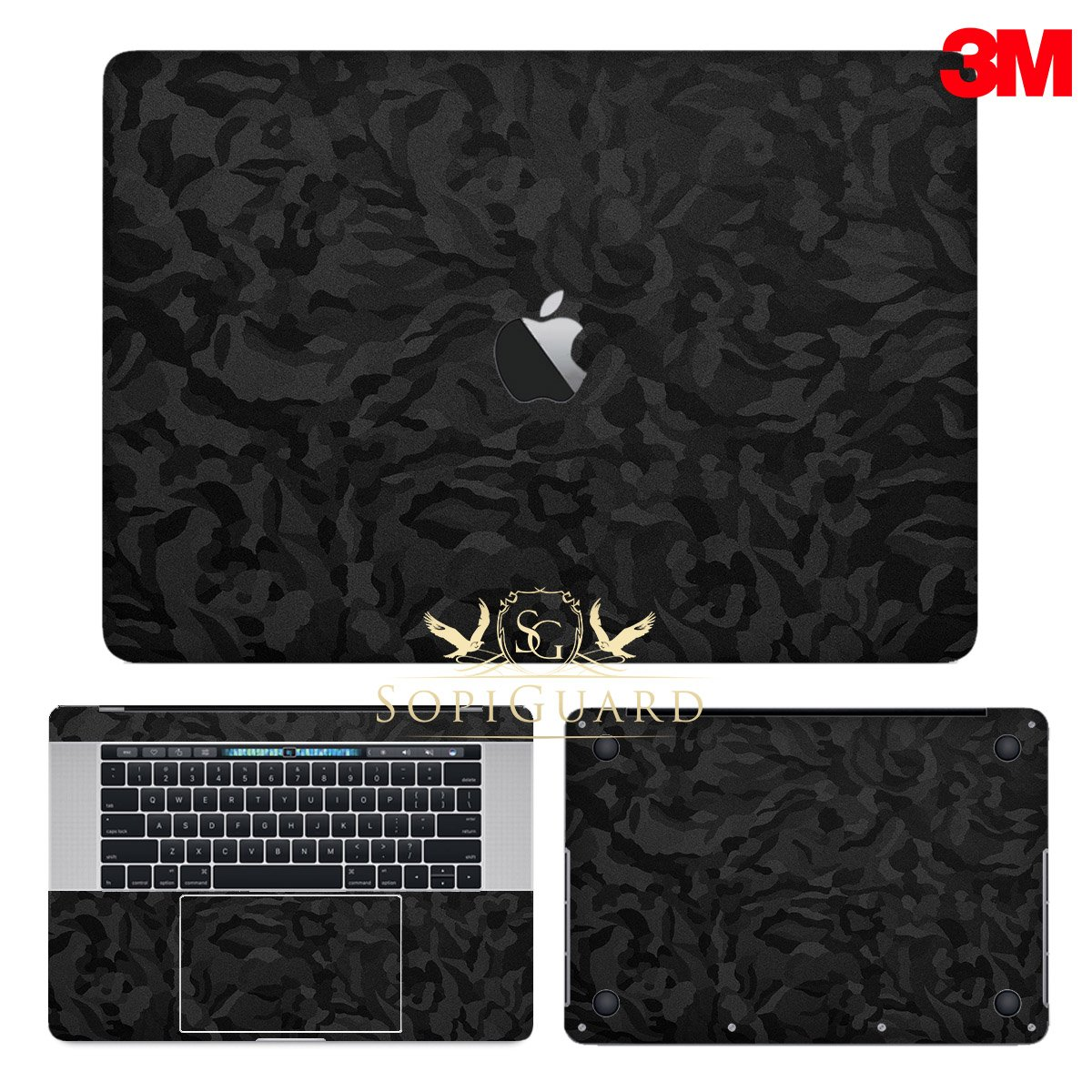 SopiGuard 3M Black Camo Full Body Precision Edge-to-Edge Coverage Vinyl Sticker Skin for Apple Macbook Pro 15 Touch Bar (A1707 A1990)