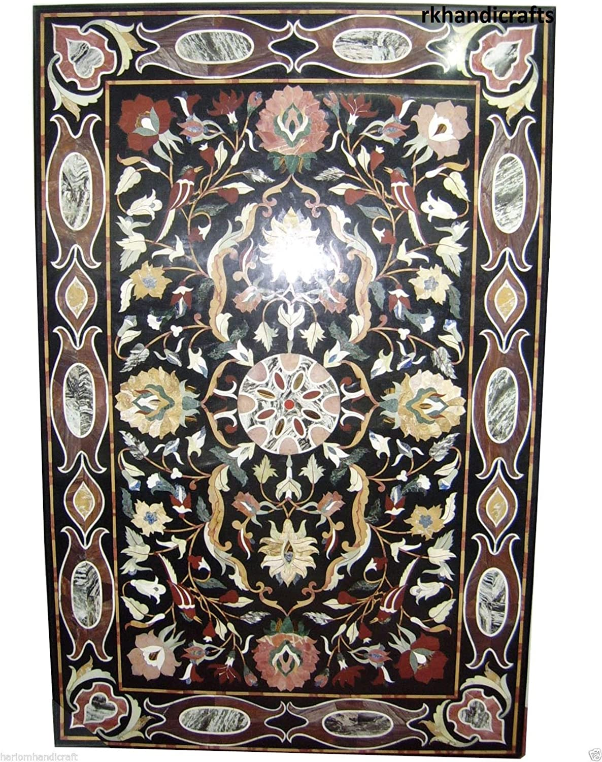 48 Inches x 72 Inches Black Marble Patio Dining Table Top at Center & Border Flower Inlaid Work, Elegant Look Home Furniture 81B3L1swapLSL1500_