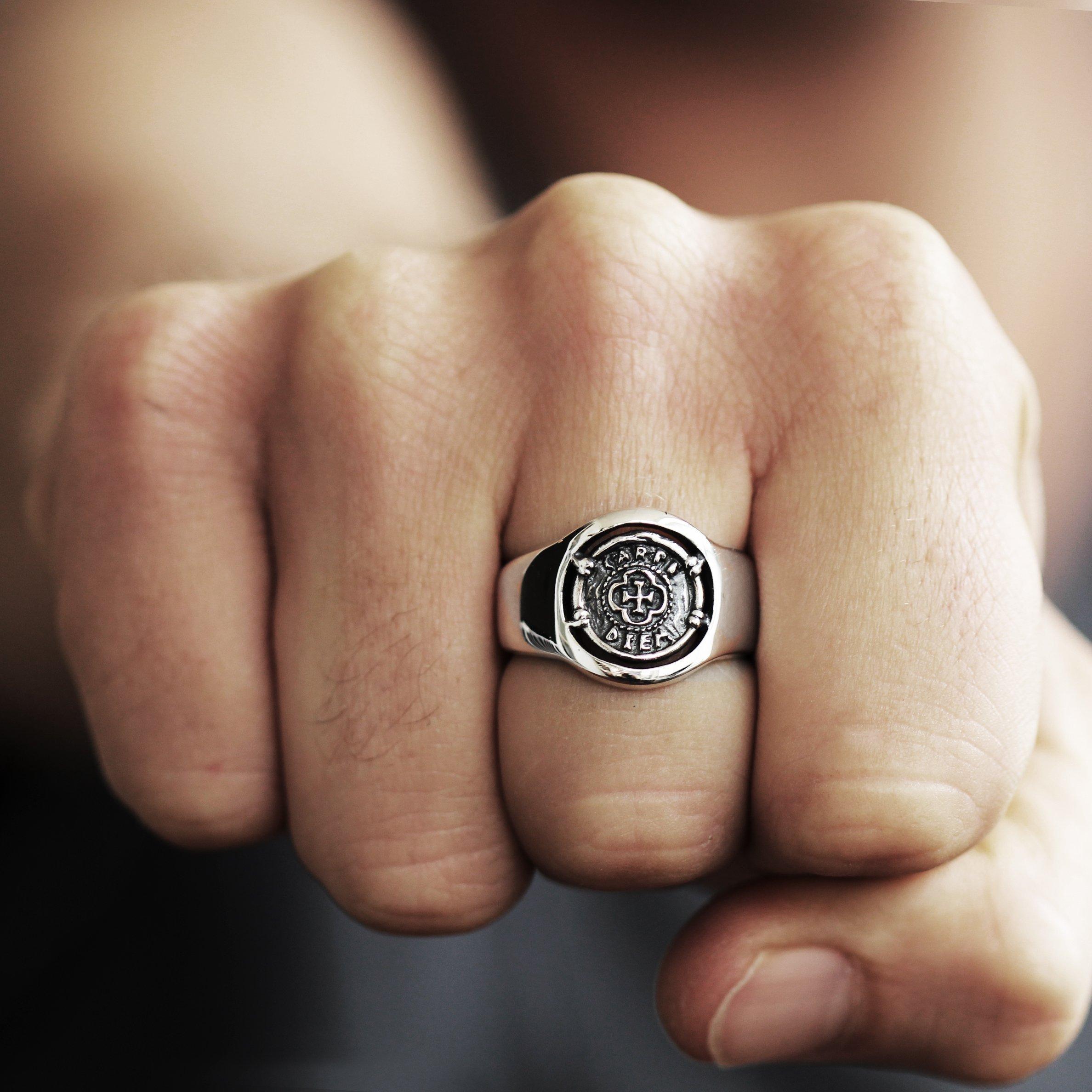 Carpe Diem Jewelry Mens Signet Ring 925 Sterling Silver Man Jewellery