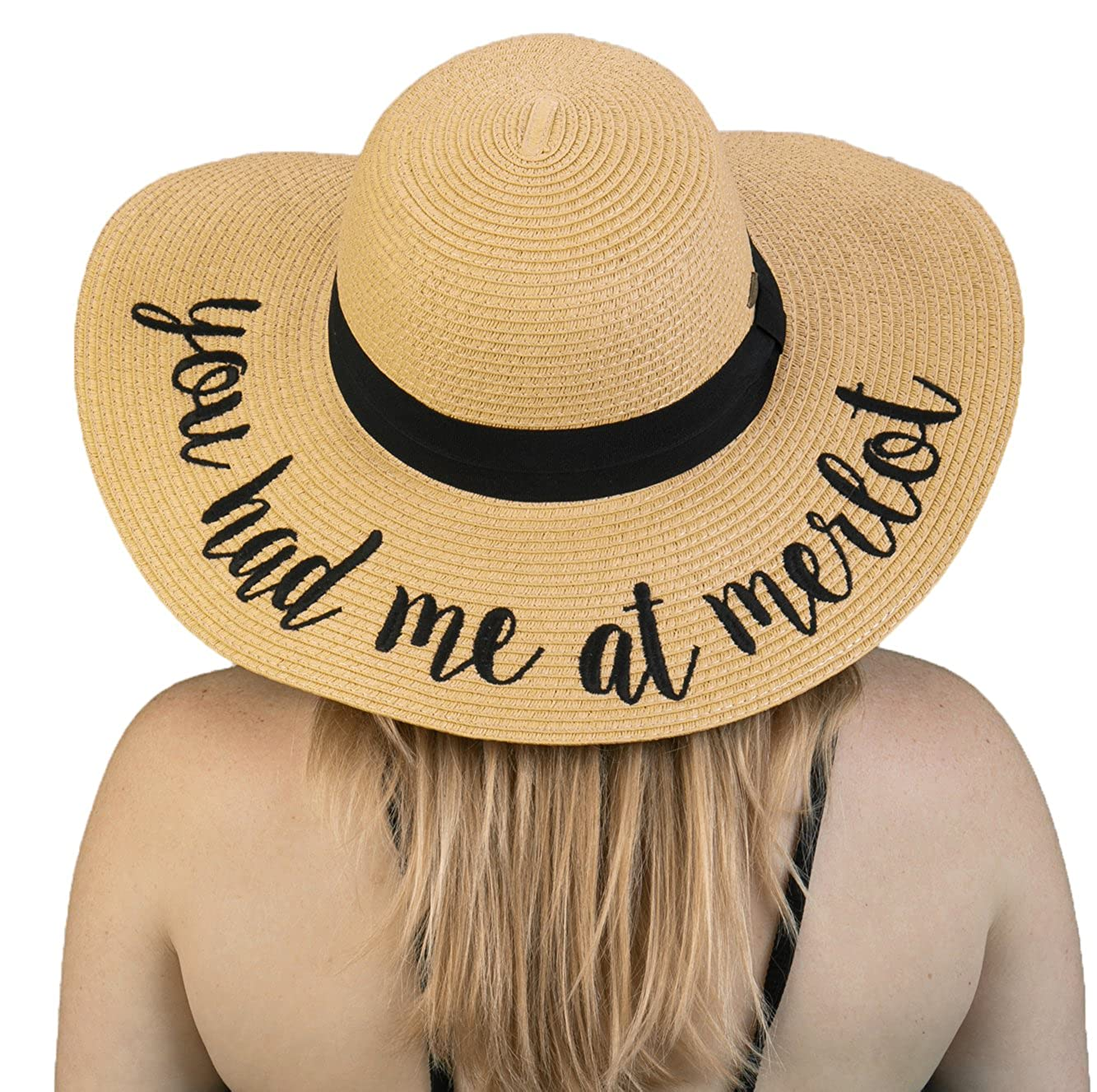 Funky Junque Womens Bold Cursive Embroidered Adjustable Beach Floppy Sun Hat