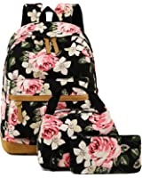 "BLUBOON School Backpack Set Canvas Teen Girls Bookbags 14"" Laptop Backpack Kids Lunch Tote Bag Clutch Purse"