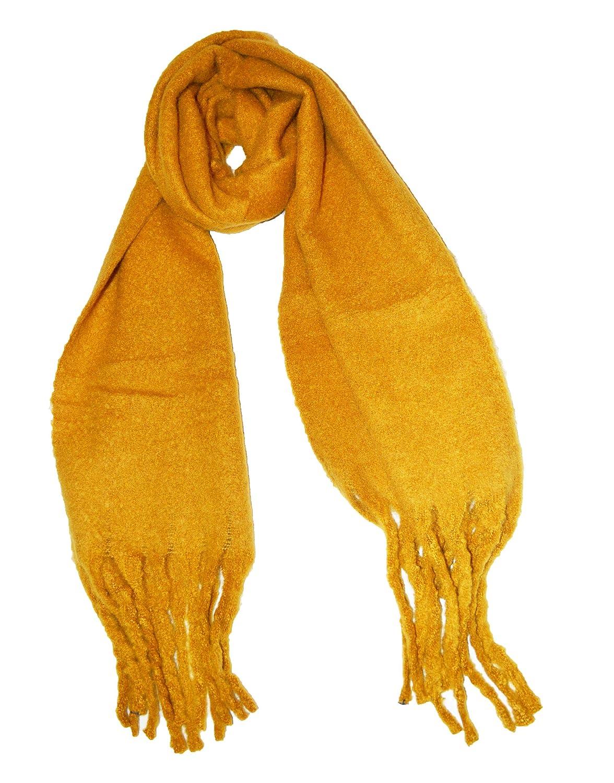 8df695c034b KGM Accessories Magnifique écharpe épaisse et Douce en Peluche brossée Jaune  Moutarde Ocre