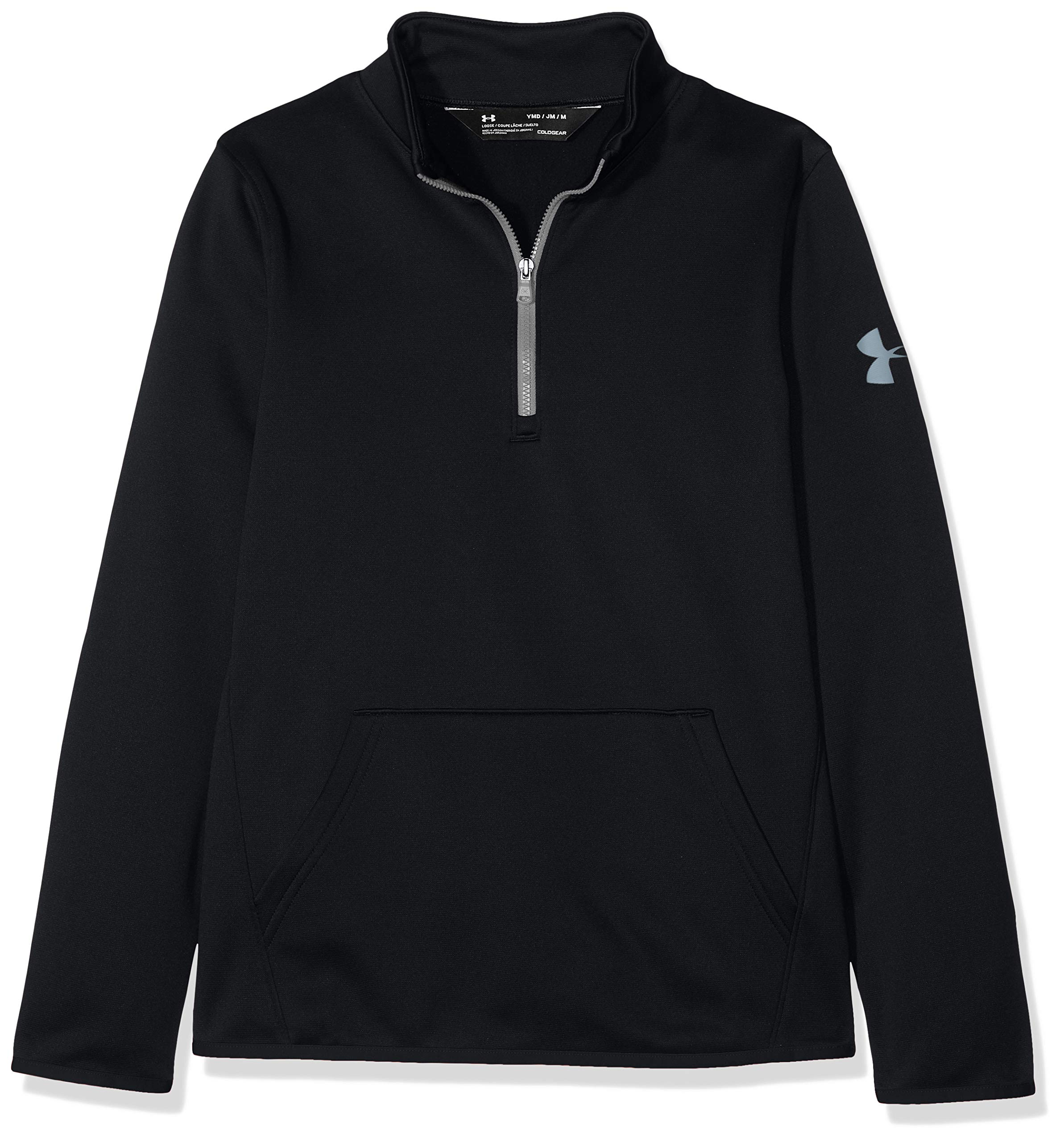 Under Armour Boys Armour Fleece 1/2 Zip, Black (001)/Steel, Youth Small by Under Armour
