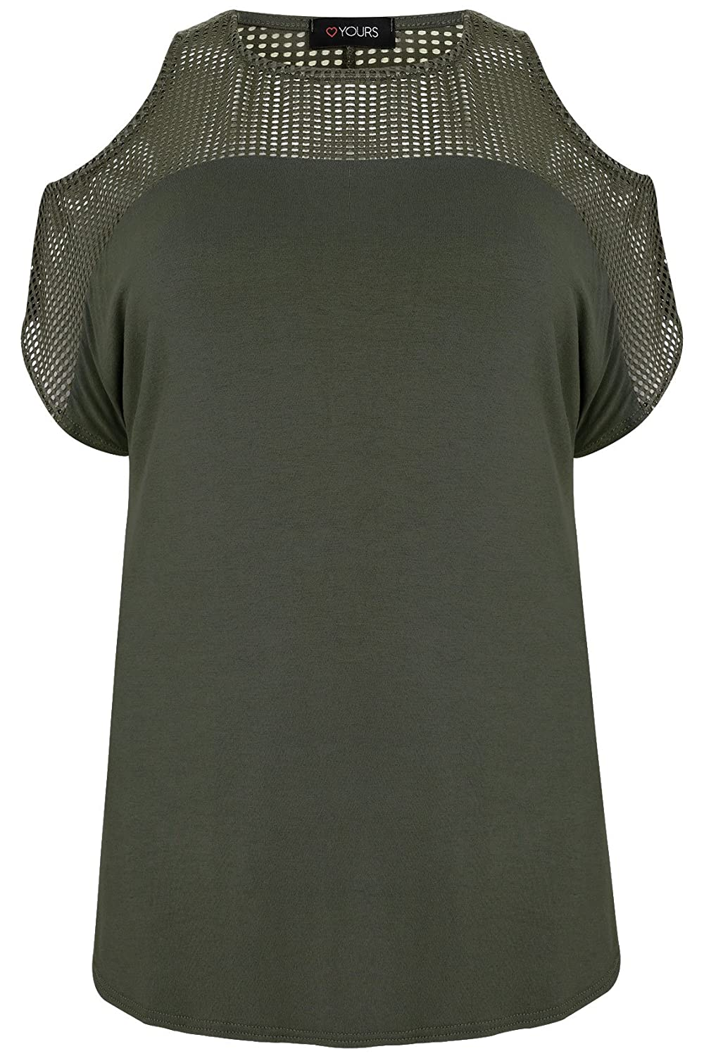 Yoursclothing Plus Size Womens Cold Shoulder Top With Mesh Panels