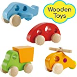 Wooden Cars Infant Toys – Hape Wooden Toy Cars Airplane Truck and Helicopter Baby Wooden Toys, Tummy Time Push Toys Wooden Toddler Toys (4 Vehicles)