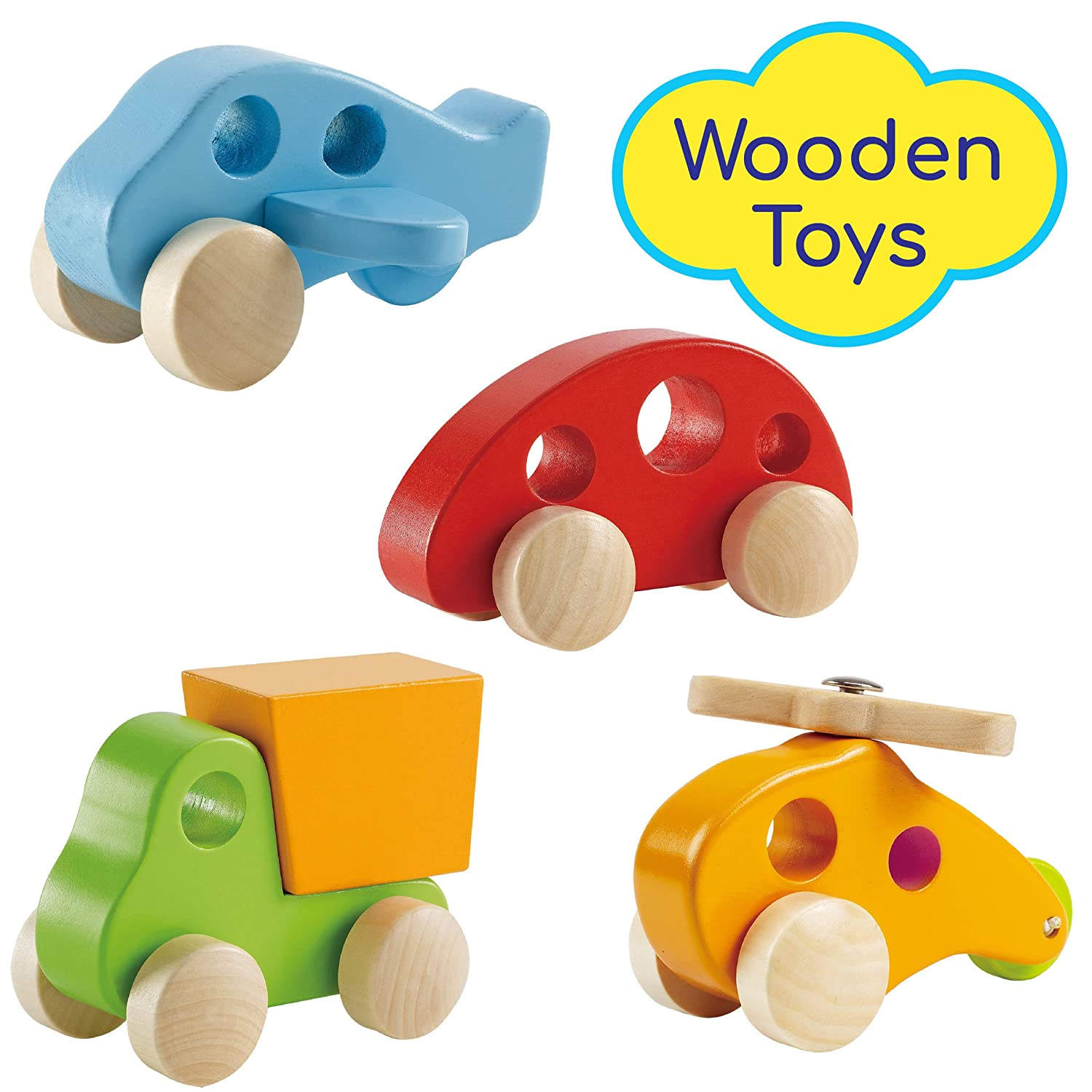 Amazon Com Wooden Cars Infant Toys Hape Wooden Toy Cars Airplane