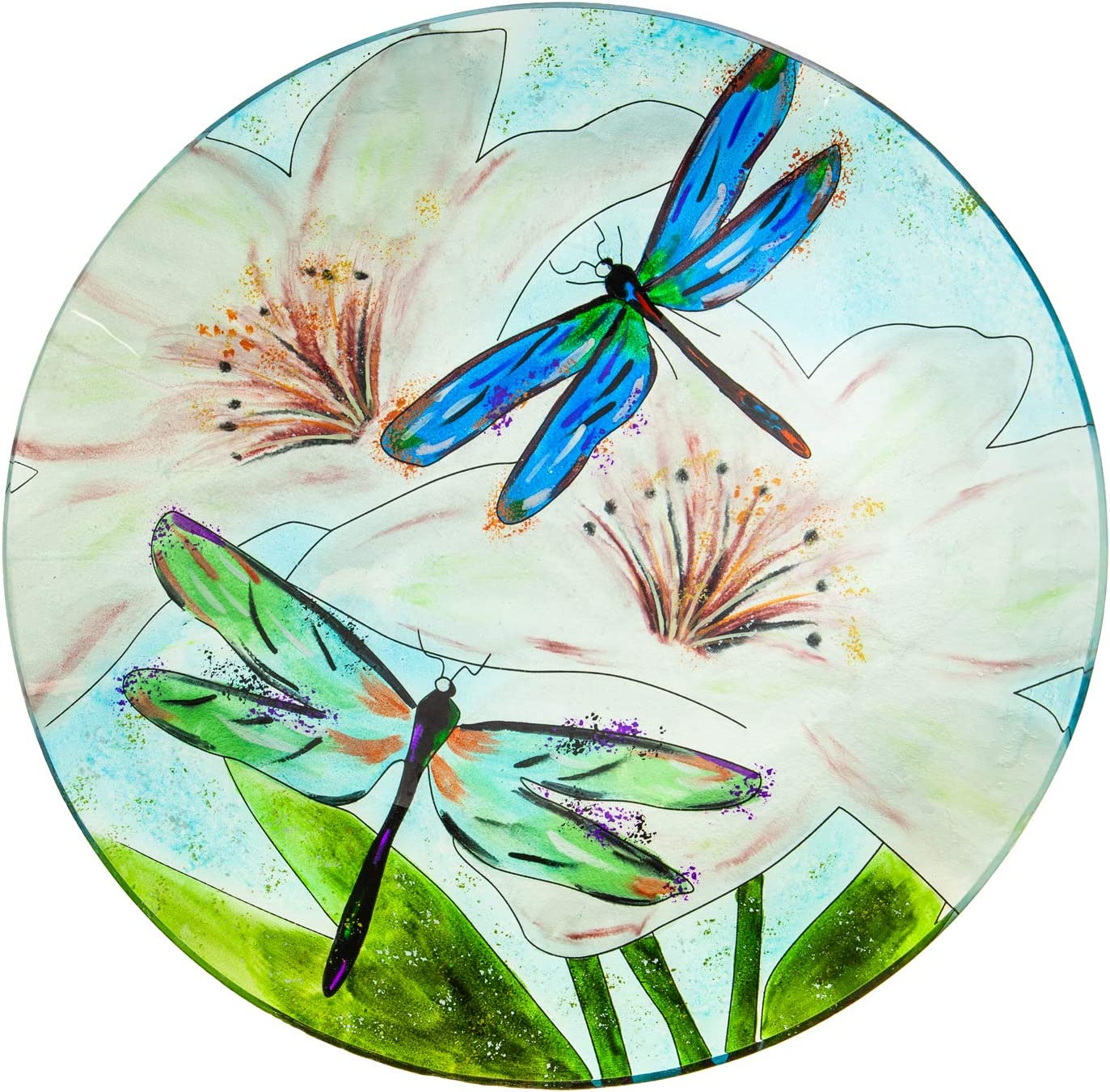 Evergreen Garden Beautiful Summer Resting Dragonfly Glass Bird Bath with Stand 16 x 16 x 2 Inches Fade and Weather Resistant Outdoor Decoration for Homes Yards and Gardens