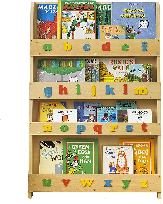 Tidy Books - Kids Bookshelf | Wood Bookshelf with 3D Color Alphabet | Bookshelf for Kids - 45.3 x 30.3 x 2.8 in | ECO Friendly | HANDMADE - The Original since 2004