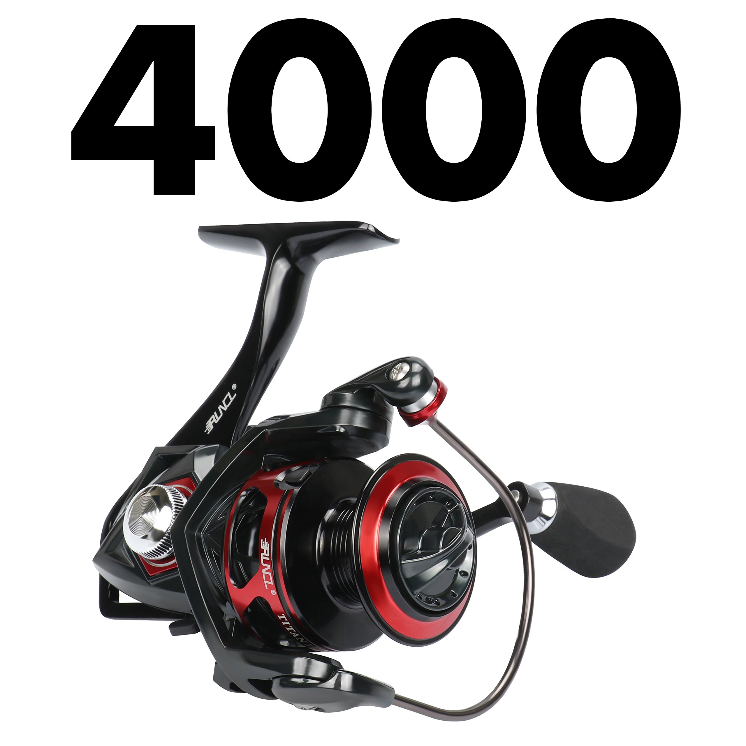 RUNCL Spinning Reel Titan I, Fishing Reel with Full Metal Body, Max Drag 44LB, 5 Carbon Fiber Drag Washers, 9+1 Stainless Steel Shielded Bearings, Hollow Out Rotor for Saltwater and Freshwater (4000) by RUNCL (Image #2)