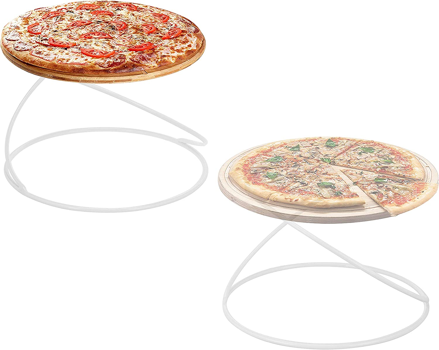 MyGift Modern White Metal Wire Circular Pizza Serving Stands, Set of 2