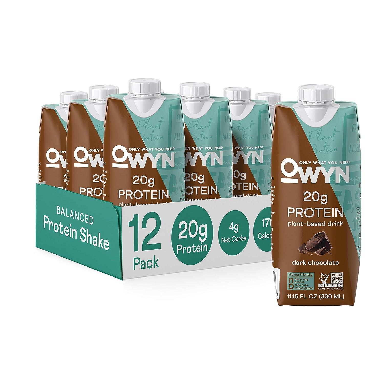 OWYN - 100% Vegan Protein Shakes | Dark Chocolate, 11.14 Fl Oz (Pack of 12) | Dairy-Free, Gluten-Free, Soy-Free, Tree Nut-Free, Egg-Free, Allergy-Free, Plant-Based
