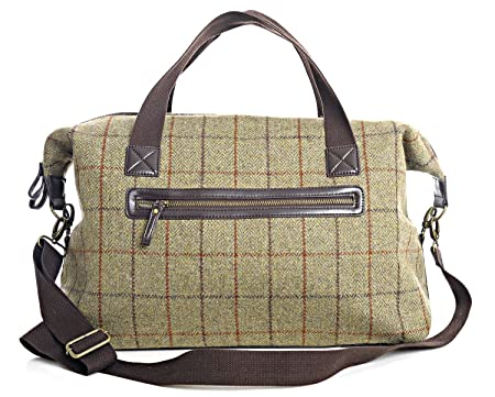 d61d52affac6 Tweed Weekender Holdall Travel Bag - beige BRITISH MADE  Amazon.co.uk   Luggage