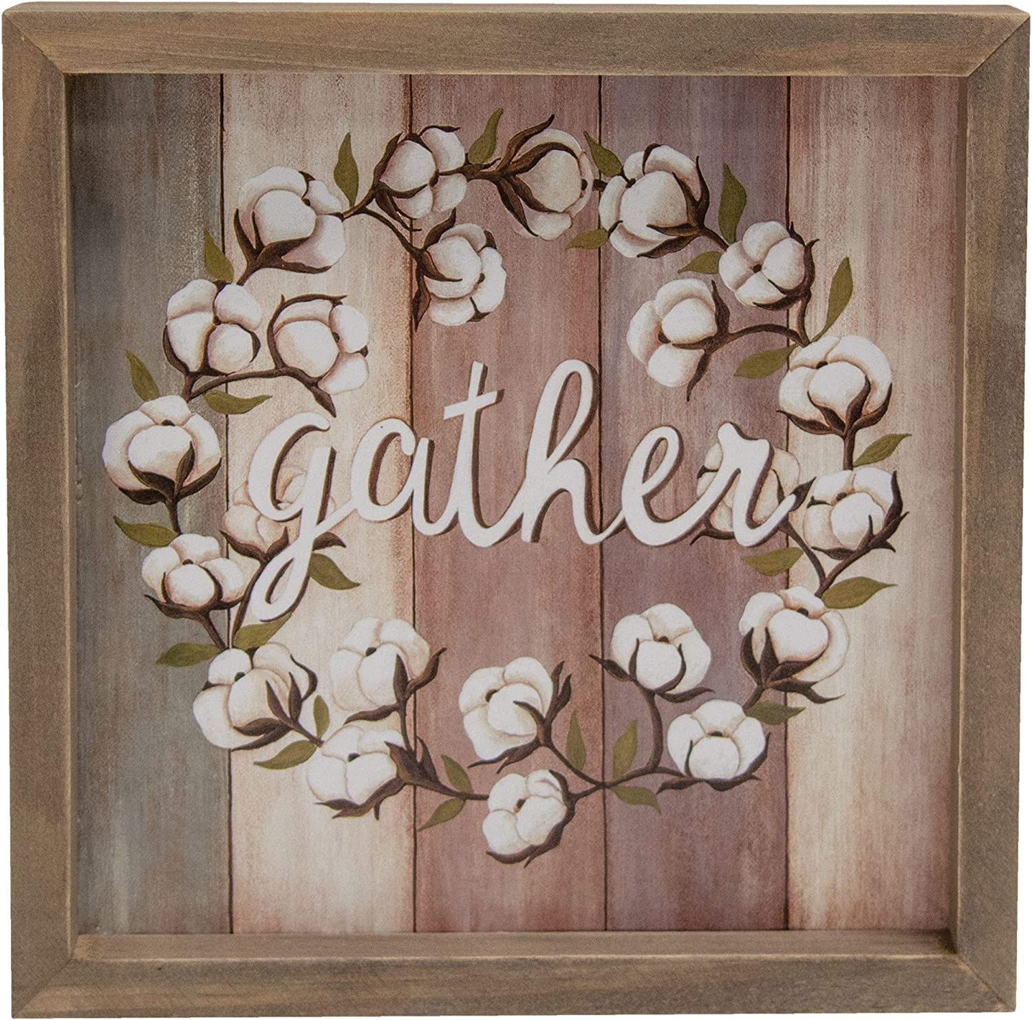 CWI Gifts Gather Cotton Wreath Box Sign, Multi