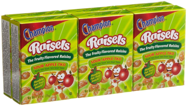 Champion Raisels Sour Apple Raisins 125 Ounces 6 Count Mini