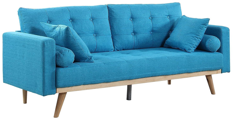 Divano Roma Furniture Mid-Century Modern Tufted Linen Fabric Sofa (Light Blue) Furniture Mania