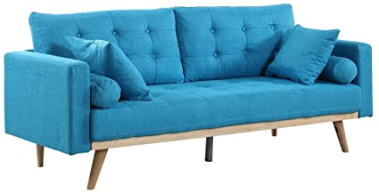 Divano Roma Furniture Mid Century Modern Tufted Linen Fabric Sofa (Light  Blue)