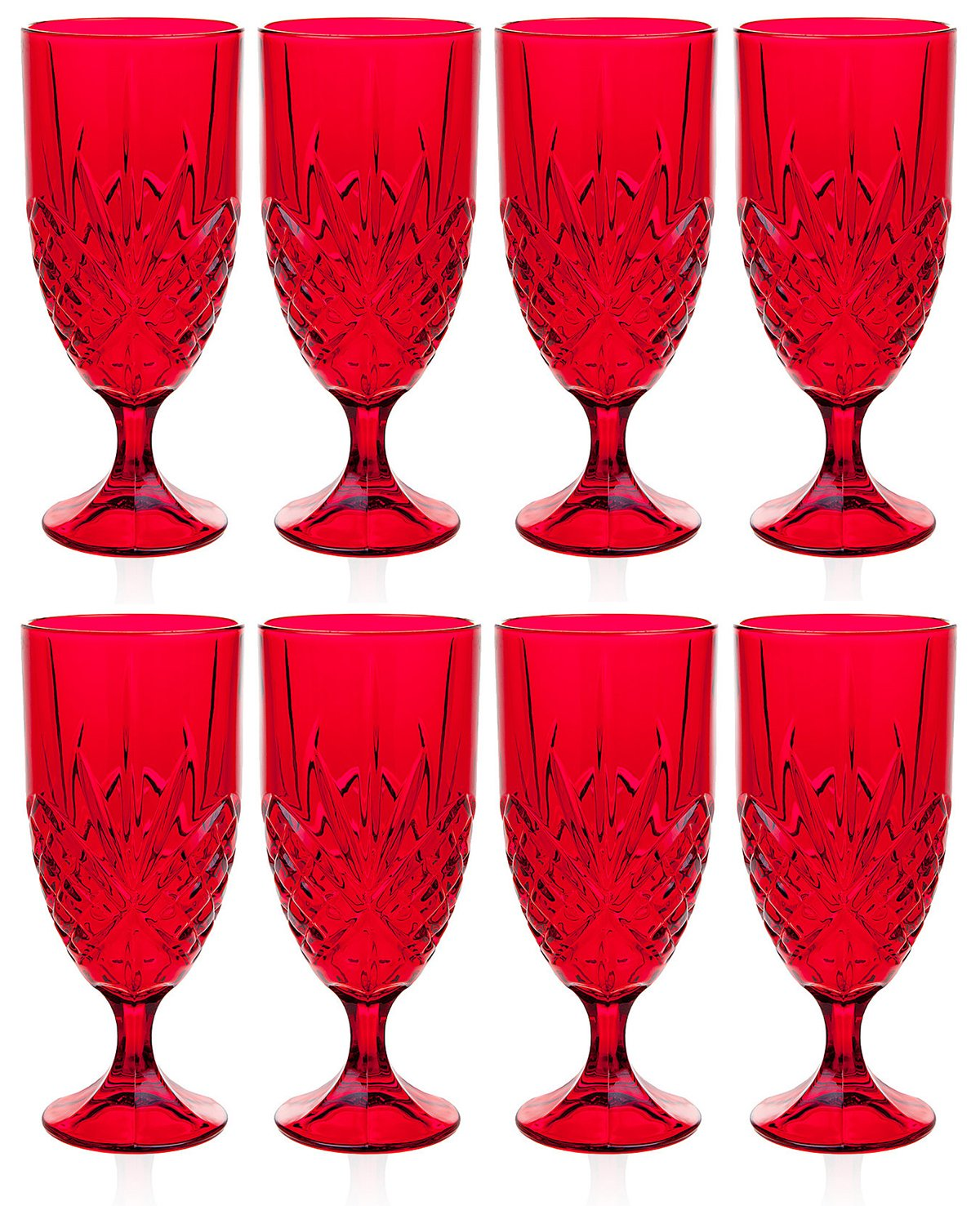 Christmas Tablescape Décor - Godinger Dublin ruby red crystal iced beverage glasses - Set of 8