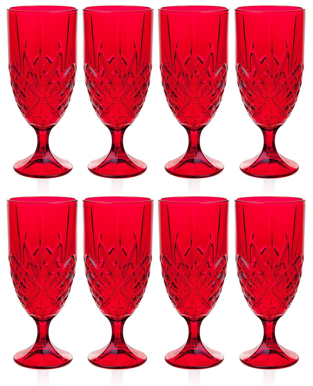 Godinger Dublin Red Crystal Iced Beverage Glasses, Set of 8 (Eight), Ruby Red
