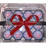 Personalized Text on White Golf Balls 12 Pack with Christmas Packaging